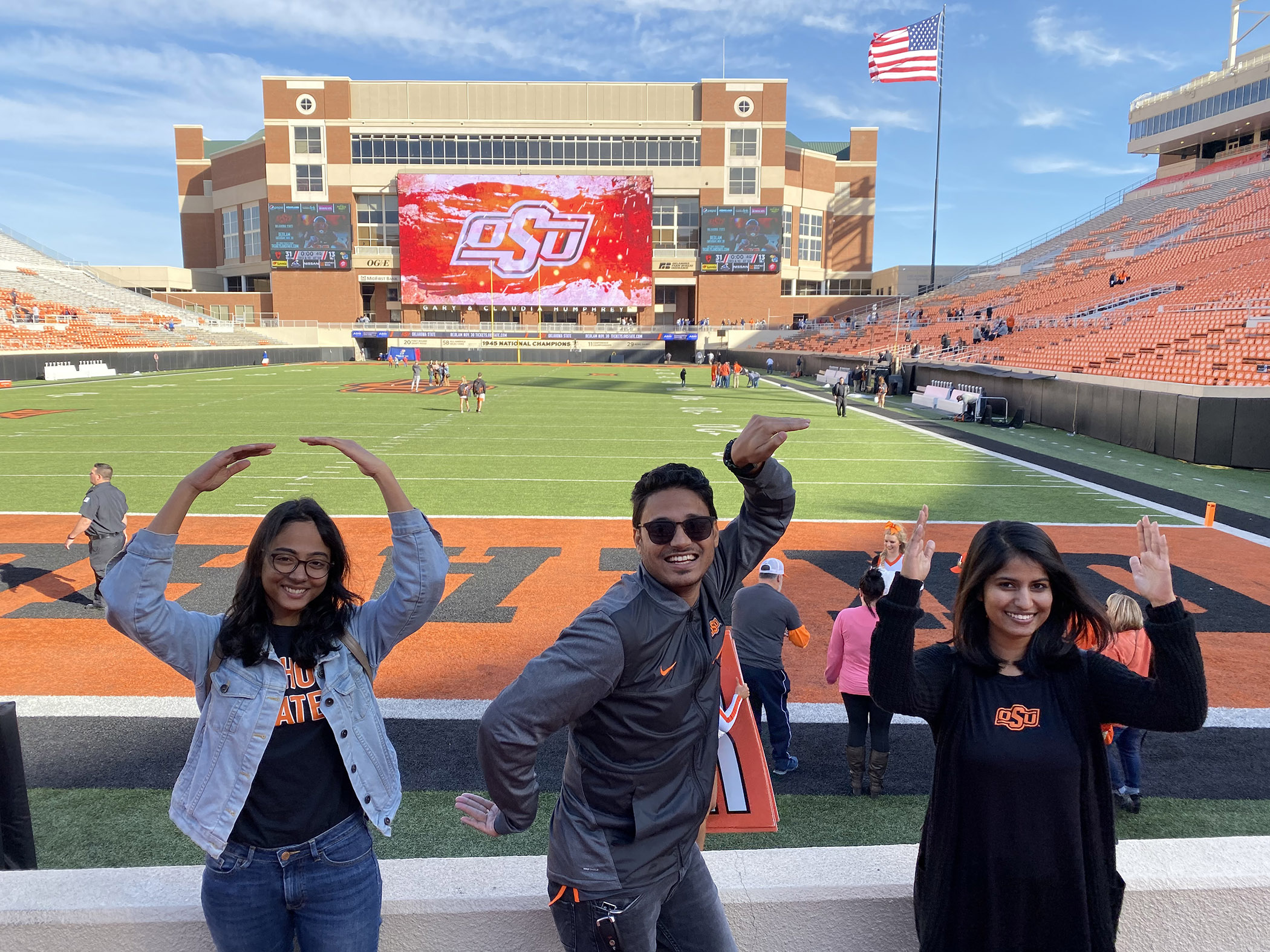 Group of students at Boone Pickens Stadium